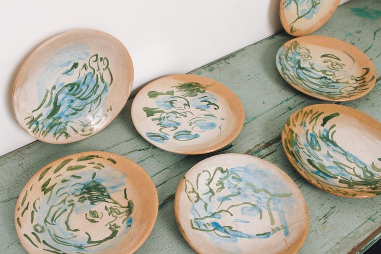 Enameled Mexican Majolica Pottery Plate Set Handmade Mid-Century Modern Blue Small Plates For Sale