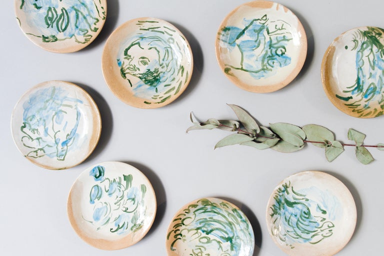 Mexican Majolica Pottery Plate Set Handmade Mid-Century Modern Blue Small Plates In New Condition For Sale In Queretaro, Queretaro