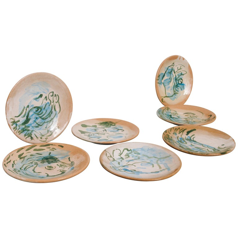 Mexican Majolica Pottery Plate Set Handmade Mid-Century Modern Blue Small Plates For Sale