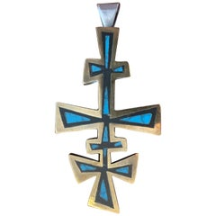 Mexican MCM Los Castillo Sterling Silver and Black Onyx Pendant Cross