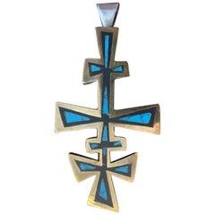 Mexican MCM Los Castillo Sterling Silver and Black Onyx Pendant Cross