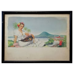 Mexican MCM Veracruz Woman Painting, Watercolor on Paper