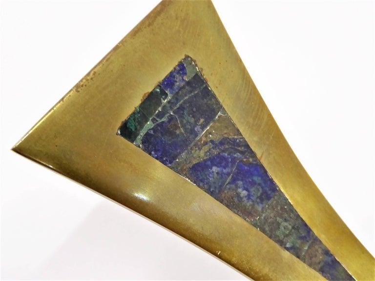 Mexican Mid-Century Brass Inlaid Stones Door or Drawer Handle Los Castillo Taxco In Good Condition For Sale In Miami, FL