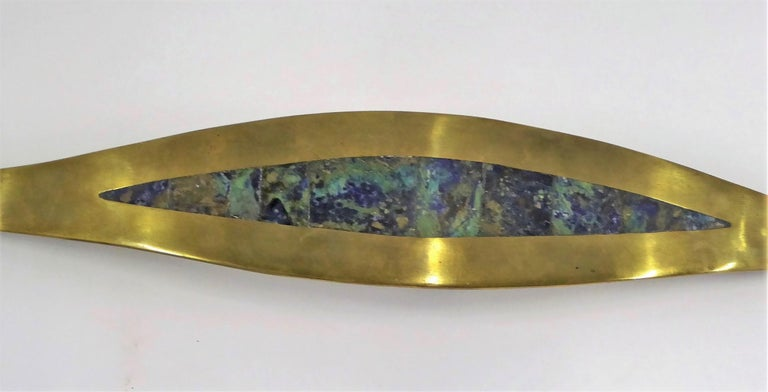 Mexican Mid-Century Brass Inlaid Stones Door or Drawer Handle Los Castillo Taxco For Sale 2
