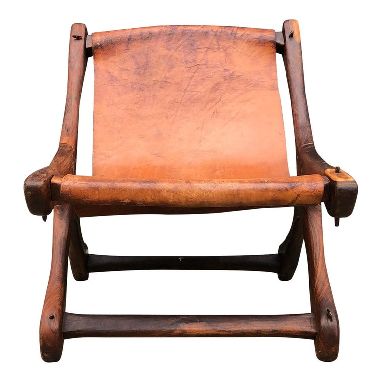 Mexican Midcentury Don Shoemaker Leather Sling Chair 1