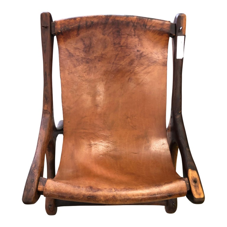 Mexican Midcentury Don Shoemaker Leather Sling Chair 2