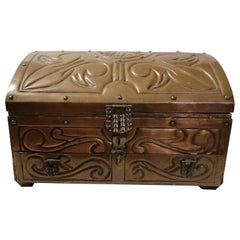Mexican Mid-Century Modern Embossed Copper Jewel Box