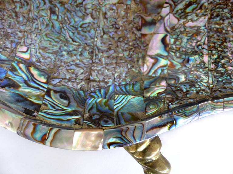 Mid-20th Century Los Castillo Mexican Mid-Century Modern Mixed Metal and Abalone Parrot Tray For Sale