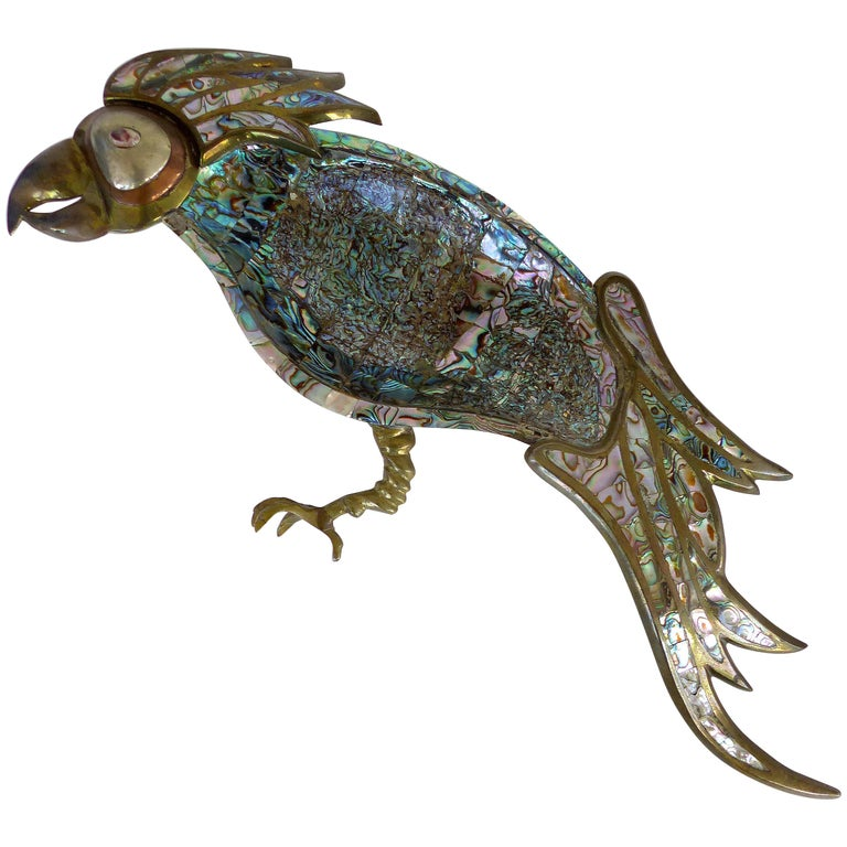 Los Castillo Mexican Mid-Century Modern Mixed Metal and Abalone Parrot Tray For Sale