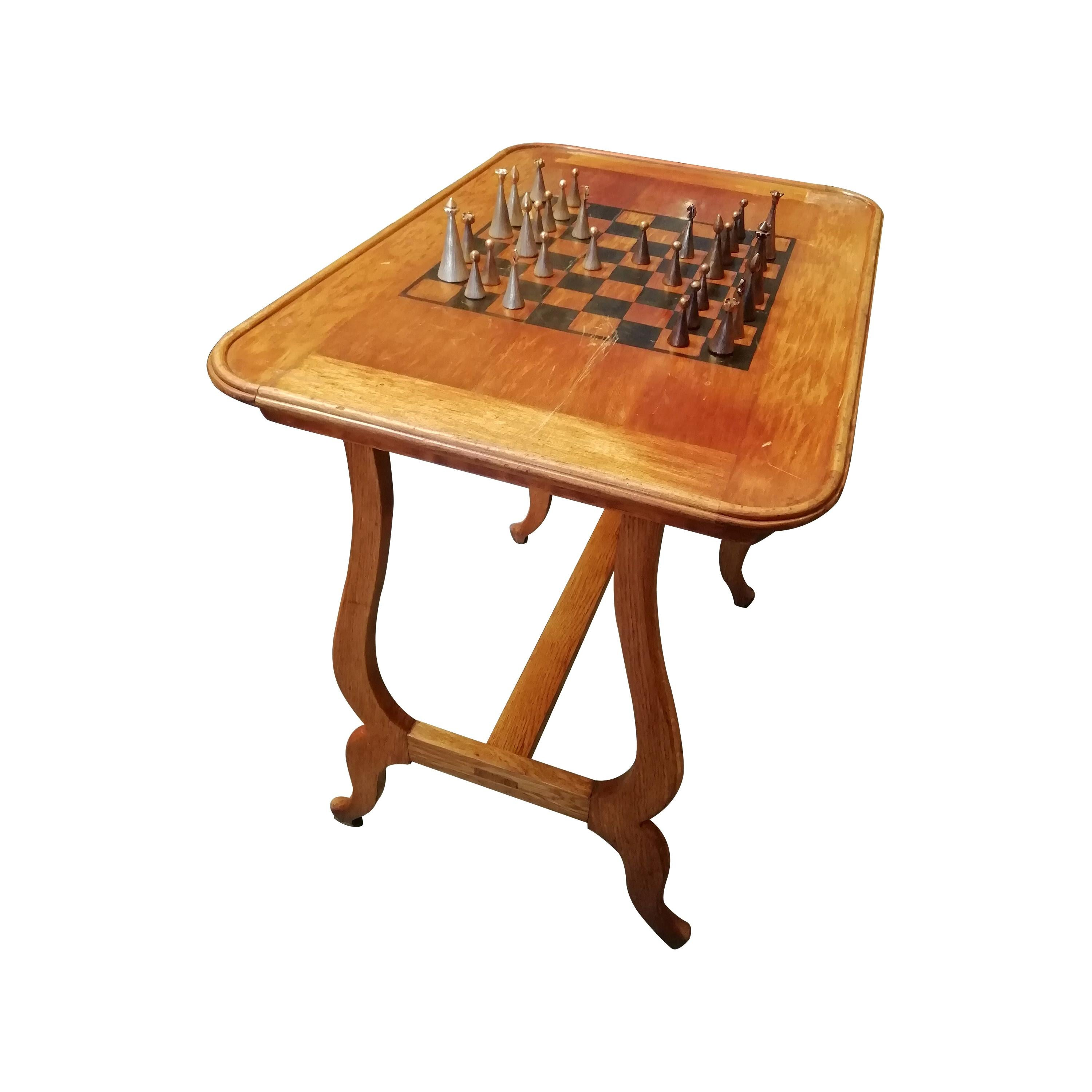 Mexican Mid-Century Modern Set of Bronze Chess Pieces with Walnut Game Table