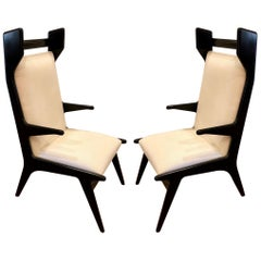Mexican Midcentury Pair of Tall Back Chairs by Eugenio Escudero