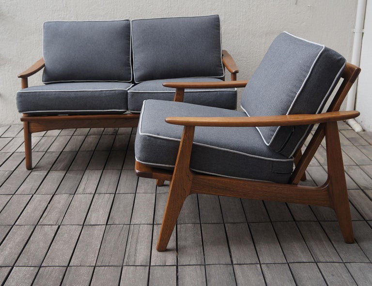 "Mexican Midcentury Sofa and Lounge Chair by ""Malinche"", 1950s For Sale 5"