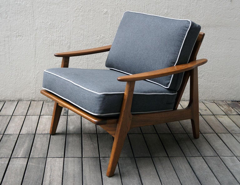 "Upholstery Mexican Midcentury Sofa and Lounge Chair by ""Malinche"", 1950s For Sale"