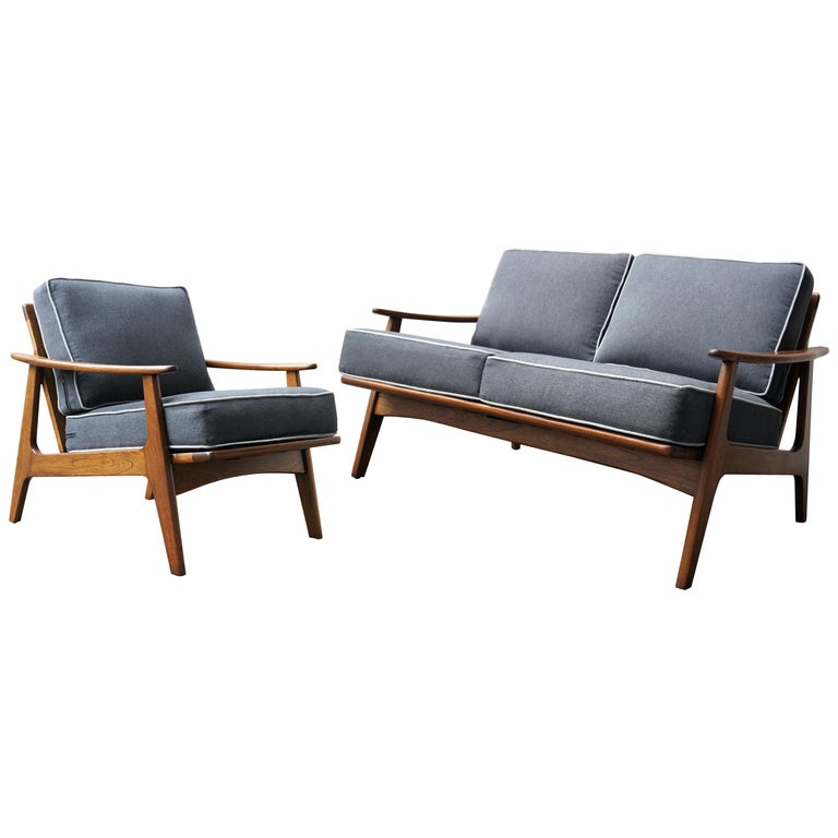 "Mexican Midcentury Sofa and Lounge Chair by ""Malinche"", 1950s For Sale"