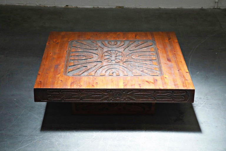 Mexican Modern Carved Wood Coffee Table, circa 1970s For Sale 6