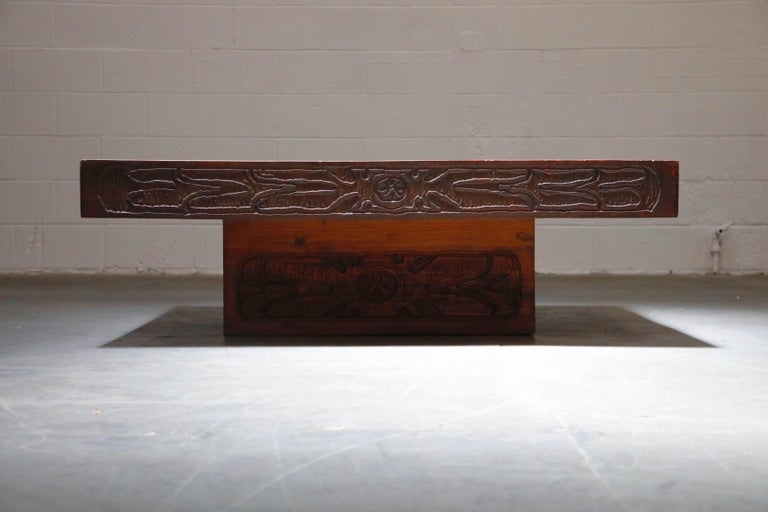 Mexican Modern Carved Wood Coffee Table, circa 1970s For Sale 7