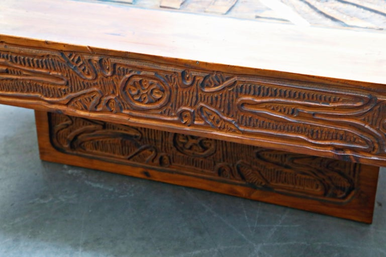 Mexican Modern Carved Wood Coffee Table, circa 1970s For Sale 8