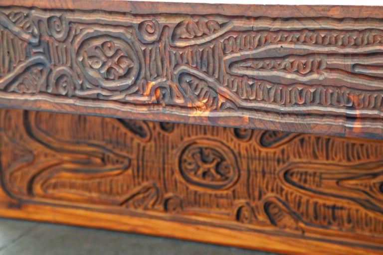 Mexican Modern Carved Wood Coffee Table, circa 1970s For Sale 9