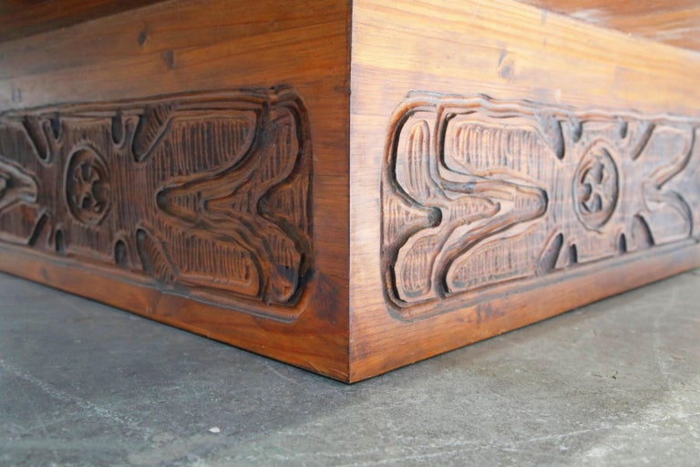 Mexican Modern Carved Wood Coffee Table, circa 1970s For Sale 10
