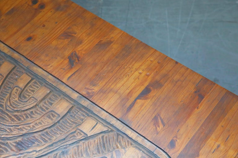 Mexican Modern Carved Wood Coffee Table, circa 1970s For Sale 11