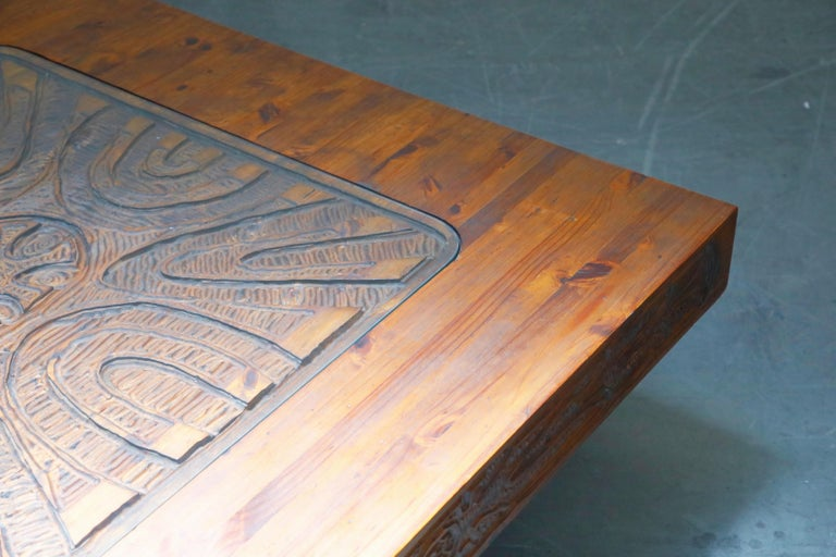 Mexican Modern Carved Wood Coffee Table, circa 1970s For Sale 12