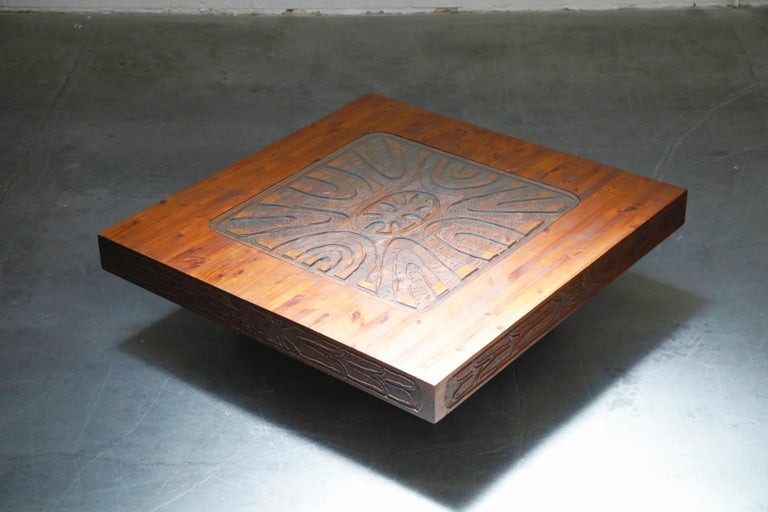 This incredible Mexican modern carved wood coffee table is from circa 1970s, featuring a hefty 53+
