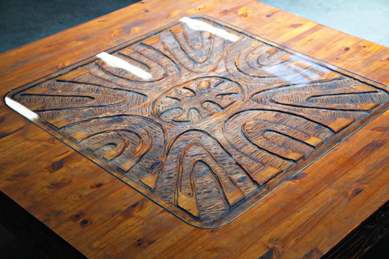 Mexican Modern Carved Wood Coffee Table, circa 1970s For Sale 16