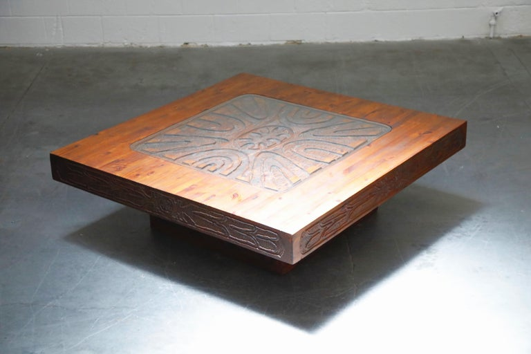 Mexican Modern Carved Wood Coffee Table, circa 1970s In Good Condition For Sale In Los Angeles, CA