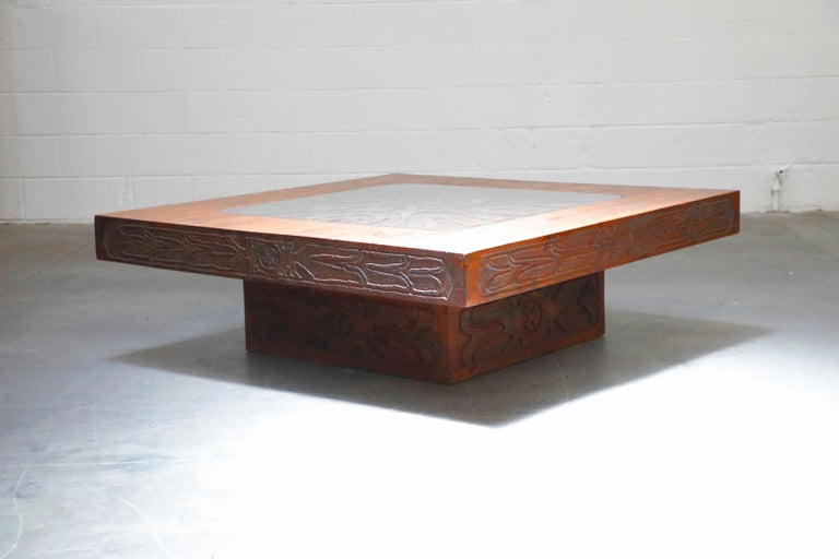 Late 20th Century Mexican Modern Carved Wood Coffee Table, circa 1970s For Sale