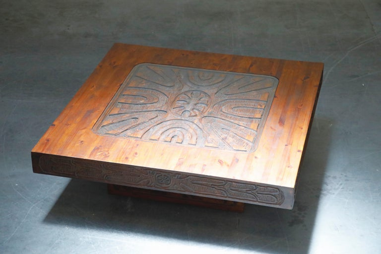 Mexican Modern Carved Wood Coffee Table, circa 1970s For Sale 2