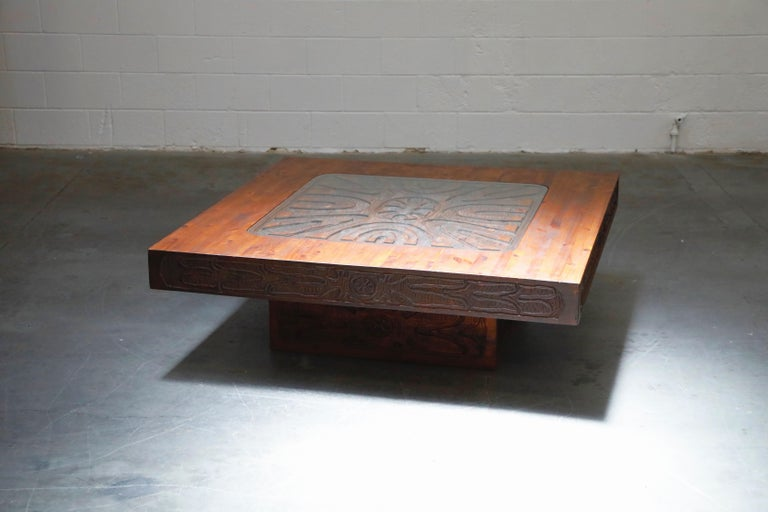 Mexican Modern Carved Wood Coffee Table, circa 1970s For Sale 3