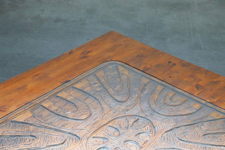 Mexican Modern Carved Wood Coffee Table, circa 1970s For Sale 4