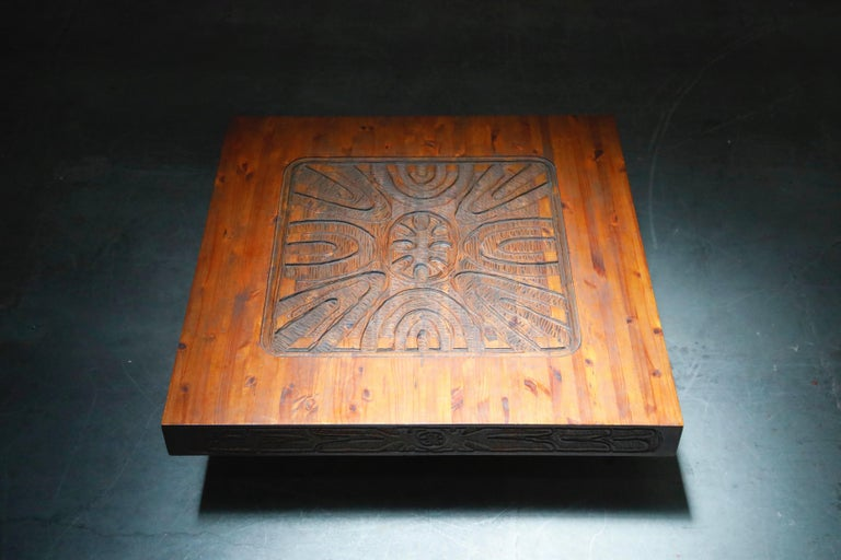 Mexican Modern Carved Wood Coffee Table, circa 1970s For Sale 5