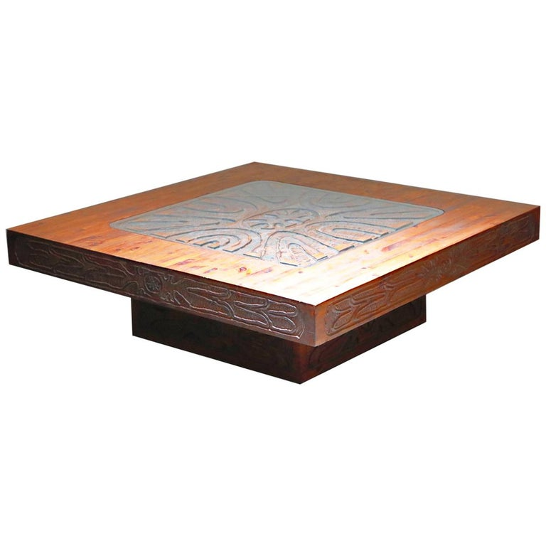 Mexican Modern Carved Wood Coffee Table, circa 1970s For Sale