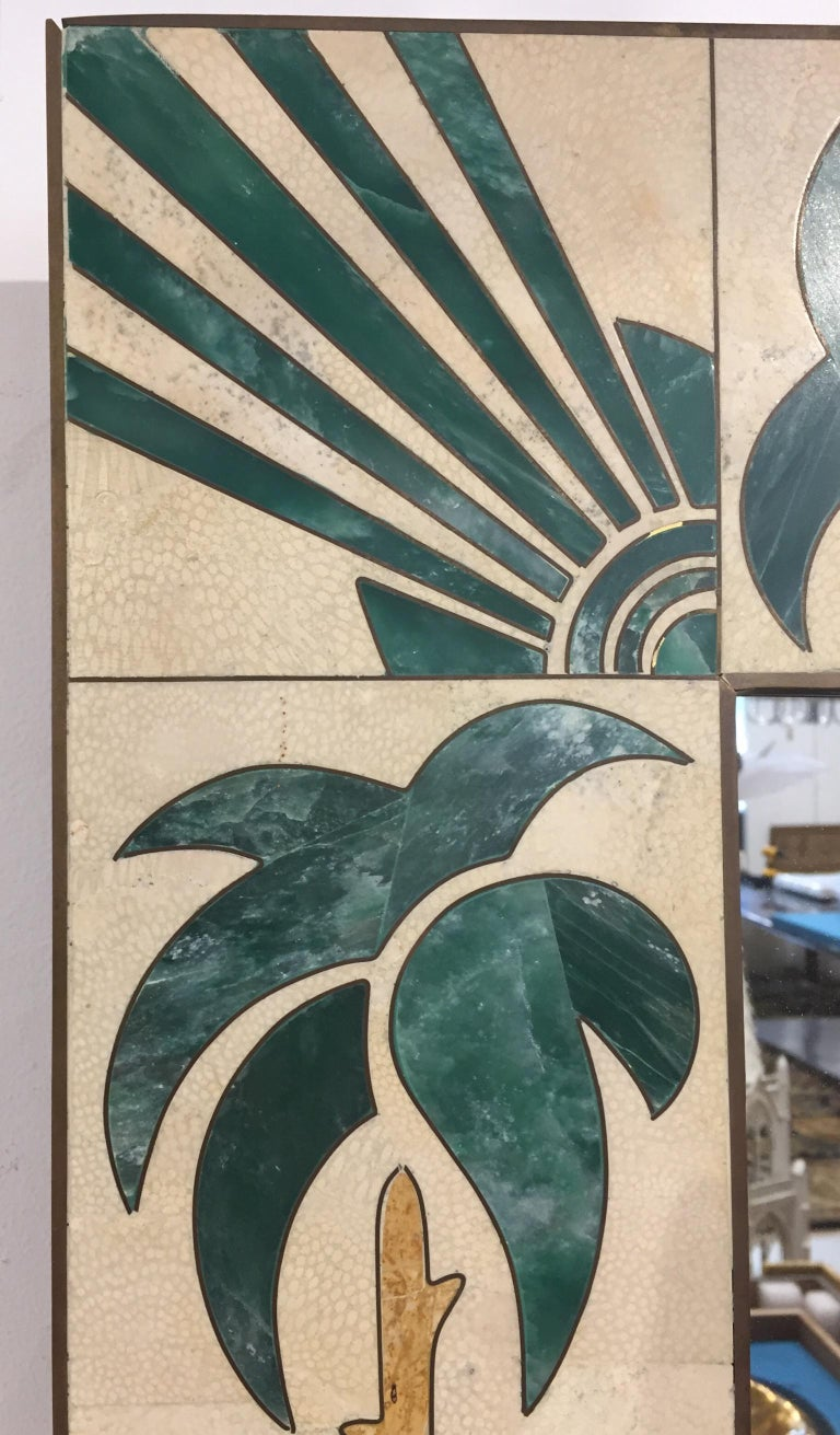 Mexican Modern Inlaid Stone and Brass Mirror In Good Condition For Sale In Hudson, NY