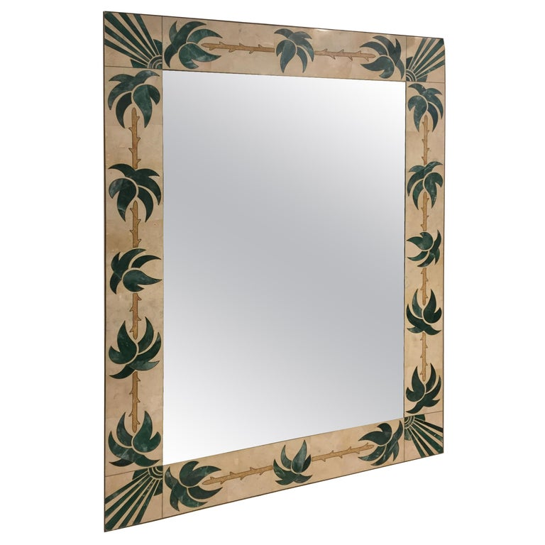 Mexican Modern Inlaid Stone and Brass Mirror For Sale
