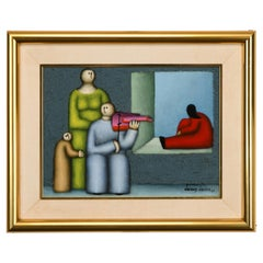 Mexican Modern Painting by Jesus Leuus, 1980