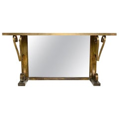 Mexican Modern Regency Arturo Pani Bronze Eglomise Console Table, 1940s