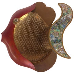 Mexican Modernism Mixed Metal Fish with Abalone Shell, Copper and Brass