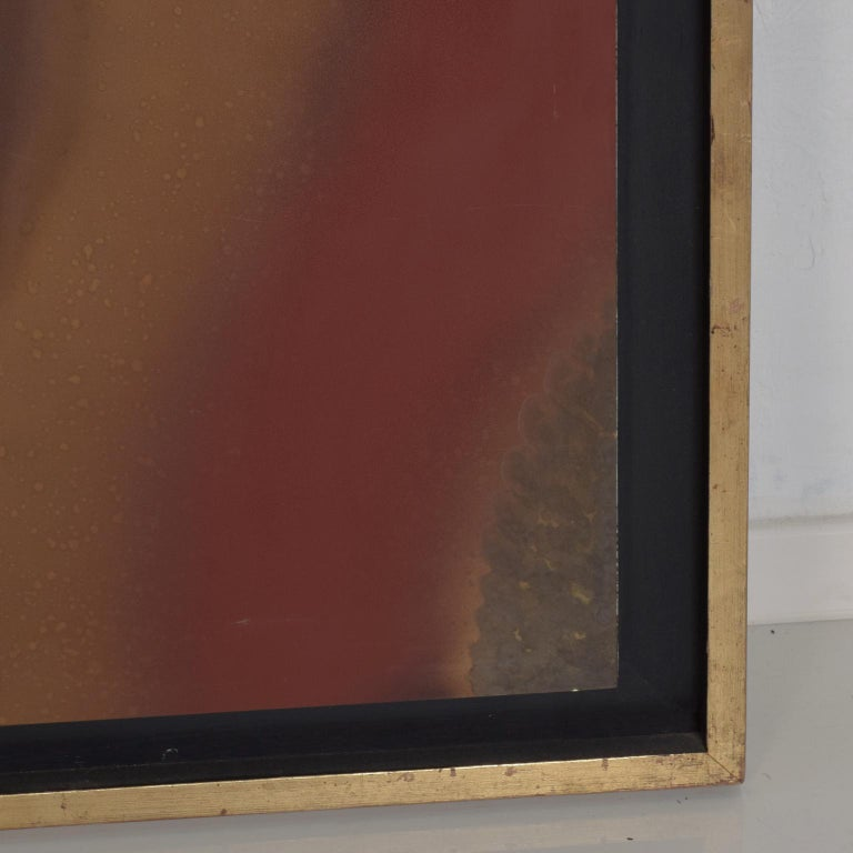 For Your Pleasure: Large abstract painting wall art in bronze by Raul Monje, Mexican artist art piece framed in gold. Dimensions: 29 1/8