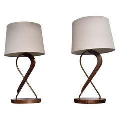 Mexican Modernism Swirled Mahogany Brass Table Lamps by Eugenio Escudero 1950s