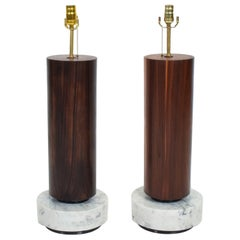 Mexican Modernism Tall Cylinder Table Lamps Marble & Rosewood 1960s Mexico City