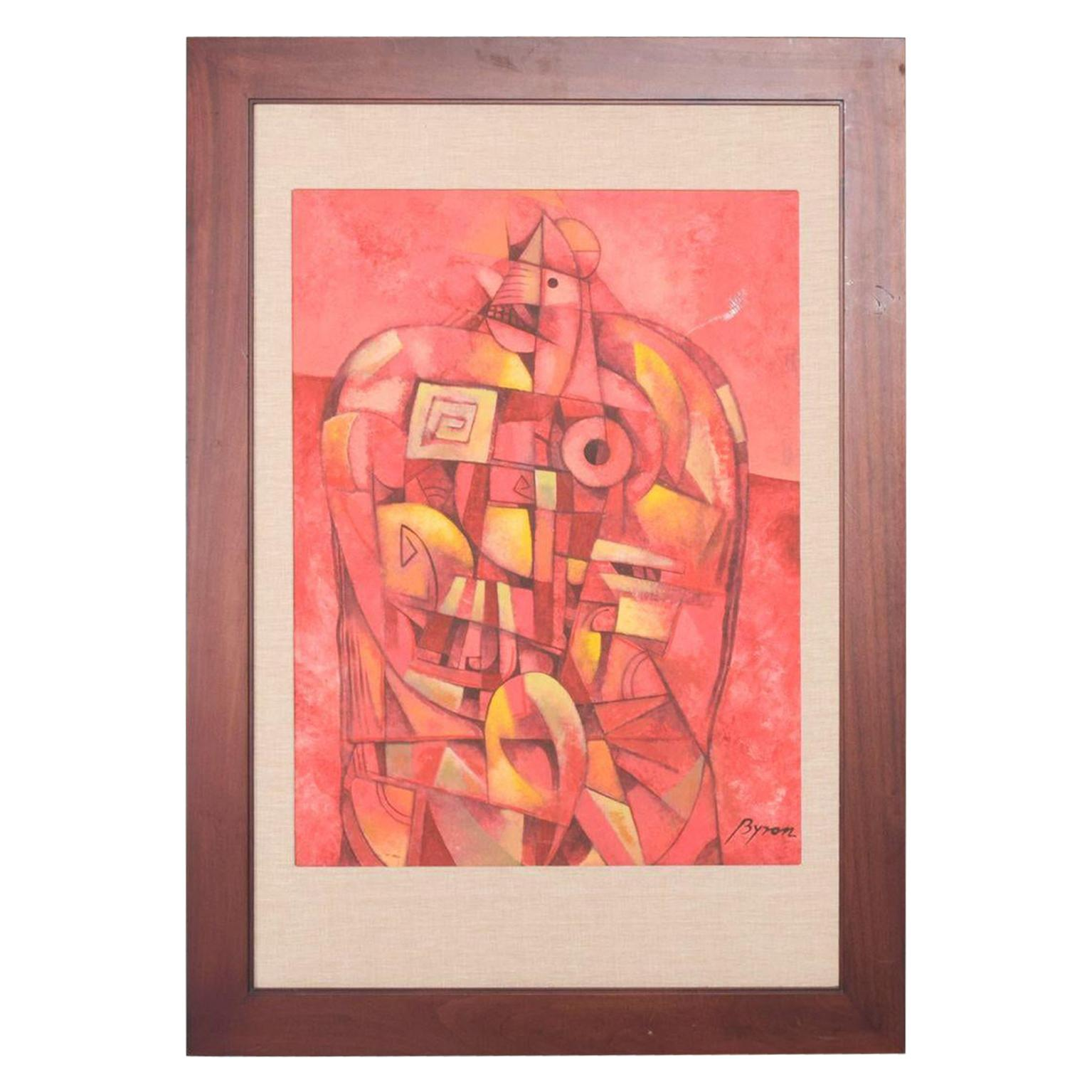 Mexican Modernist Byron Gálvez Abstract Art Mixed-Media Pink Rooster