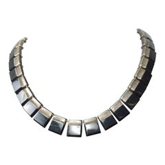 Mexican Modernist Choker Silver and Onyx, Taxco, After Los Castillo