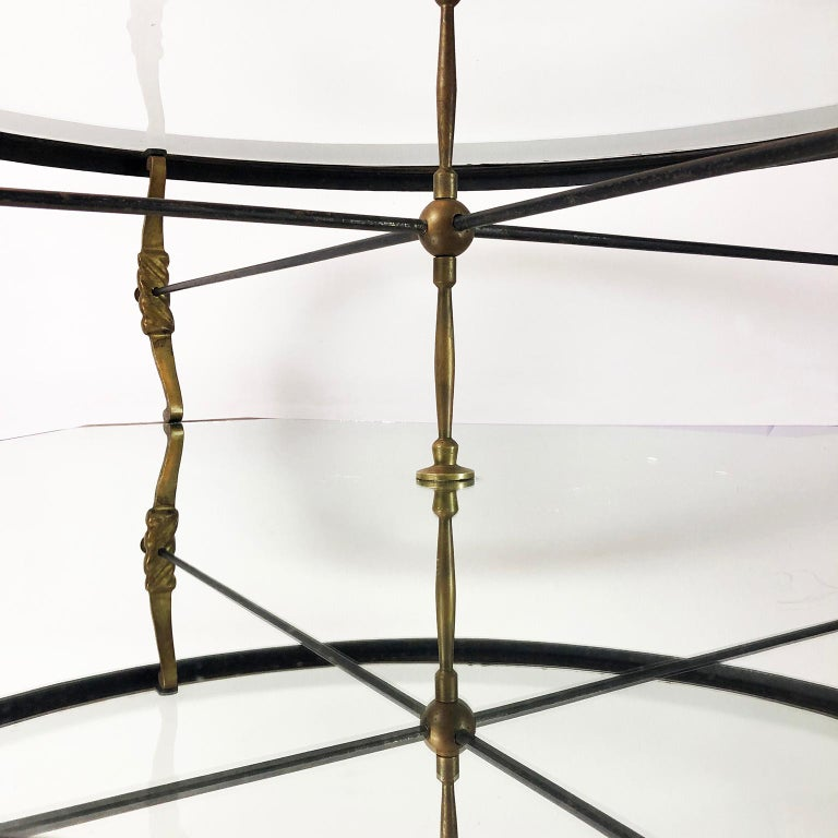 Made in Mexico, circa 1950s, designed by Arturo Pani, the table has original mirror and glass, can be delivered polished and can be disassembled for better shipping.