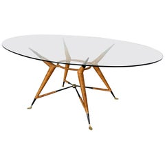 Mexican Modernist Dining Table with Oval Glass Top