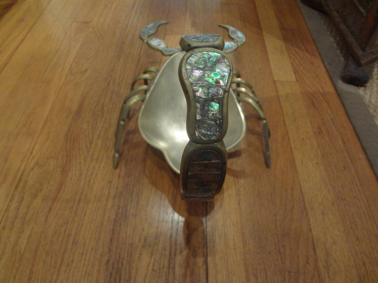 Brass Mexican Modernist Mixed Metal and Abalone Scorpion Dish For Sale