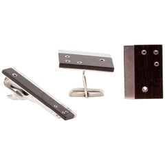 Sigi Pineda Cufflinks in Rosewood and Silver with Tie Bar, Wood Intact