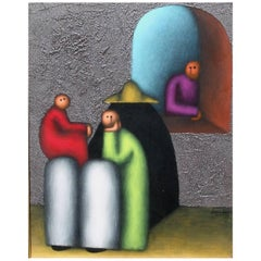 Mexican Modernist Painting by Jesus Leuus, 1973, La Familia