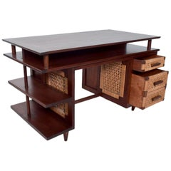 1950 Mexican Modernist Mahogany Seagrass & Cane Panel Desk by Michael Van Beuren